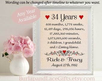 34th Anniversary Gift to Wife Gift to Husband Anniversary Gift for Wife Anniversary Gift for Husband Gift from children to Parents (207-34)