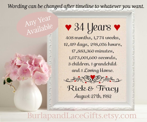 24th Wedding Anniversary Gift Ideas: 34th Anniversary Gift To Wife Gift To Husband Anniversary Gift