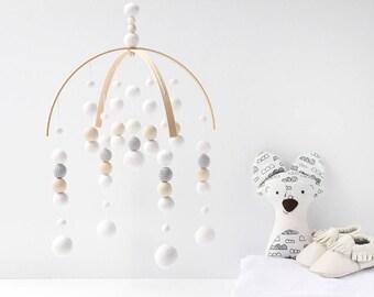 White Nursery Mobile. White Baby Mobile. Baby Crib Mobile. Nursery Cot Mobile. Gender Neutral Felt Ball Mobile White and Grey Ceiling mobile