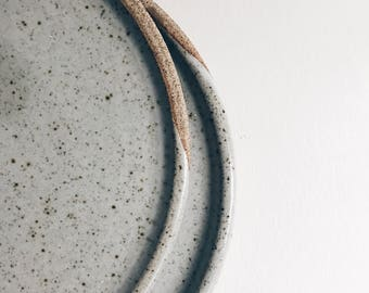 6-piece set of minimalist dinner plates, wheelthrown stoneware, six large ceramic plates, gray pottery dinnerware, simple grey tableware