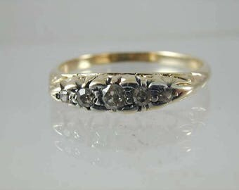 Beautiful art deco 18ct gold 5 stone diamond ring circa 1920s size p 2.6