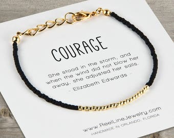 Inspirational COURAGE Friendship Bracelet, GOLD, Best Friend Bracelet Gift, Girlfriend Gift, BFF, Friendship Bracelet, Friend Gift