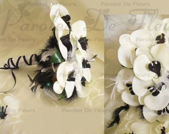 Round bridal bouquet black and white orchids and feathers to personalize