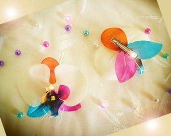Rainbow artificial orchid flower hair barrette clip