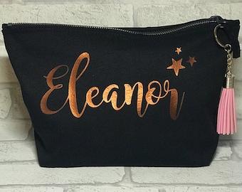 Personalised makeup bag, wash bag, bridesmaid gift, Christmas, Birthday
