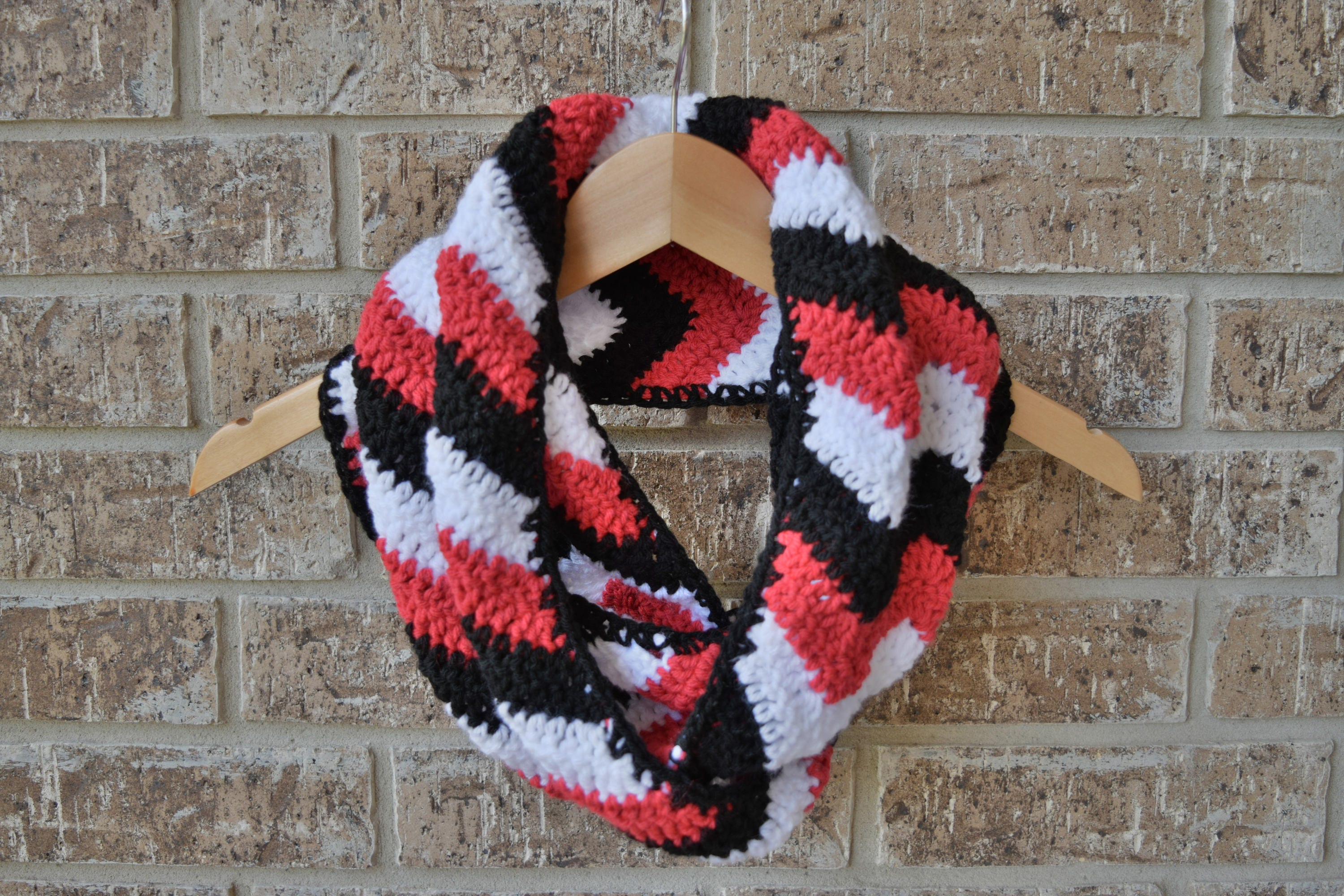 Black, White, and Red Chevron Infinity Scarf, Handmade, Crochet Cowl ...