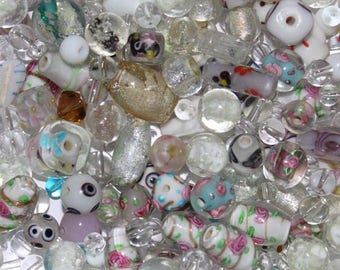 Set of various white Lampwork Glass Beads