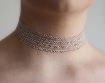 Lace choker! Nude grey beige choker! Beige Choker necklace, thick choker, sheer choker