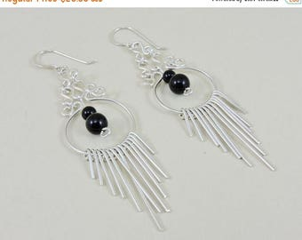 33% Off Christmas in July Sterling Silver And Black Glass Bead Dangle Earrings 3""