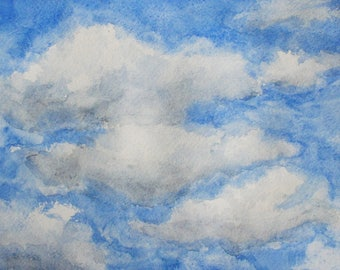 Spring Clouds ORIGINAL Watercolor Painting, Watercolor Art, 10.5x7.5 in, Wall Decoration Wall Art, Wedding Birthday Gift, Room Decor