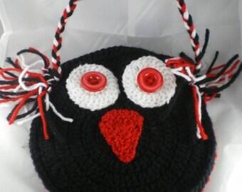 Sac010 - Black and Red OWL clutch bag
