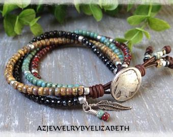 Southwestern Beaded Wrap Bracelet/ Seed Bead Leather Wrap Bracelet Southwestern Style /Leather Bracelet/ Seed Bead Bracelet/ Beaded Bracelet