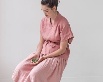 VENICE wrap linen kimono / Washed and soft linen wrap kimono in salmon blush
