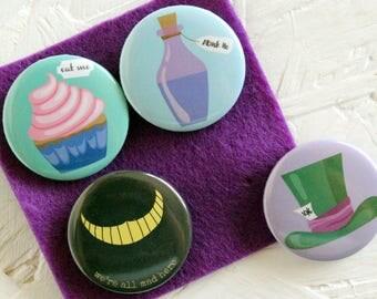 Alice in Wonderland Badges, Alice in Wonderland Pins, Cheshire Cat, Drink Me, Eat Me, Alice in Wonderland, Gift for her, Stocking Fillers