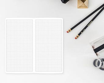 Graph Paper Traveler's Notebook Insert – Wide size, Composition size - grey grid - journaling - bujo - bullet journal