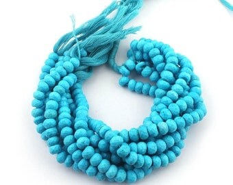 Mega Sale 2 Strands Turquoise Stablized Faceted Rondelles. - Turquoise Stablized Roundel Beads 7mm 8 Inches  SB3992