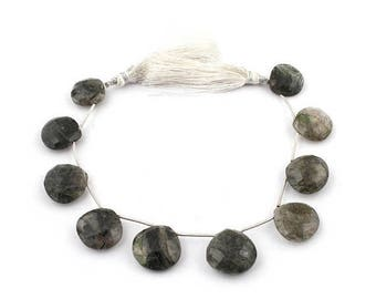 Valentines Day 1 Strand Black Rutile Faceted Briolettes - Tourmilated Quartz Heart Shape Beads 16mmx19mm 8.5 Inches Sb3337