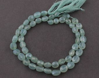 Valentines Day 2 Strands Green Chalcedony Silver Coated Faceted Center Drill Briolettes -Oval Shape Beads 7mm-9mm 8 Inch Sb1068