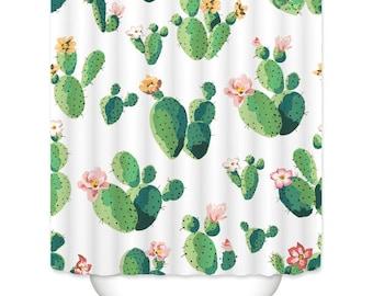 "Cactus Shower Curtain tropical shower curtain waterproof bathroom decor panels  customer size 71x71""/71x79"""