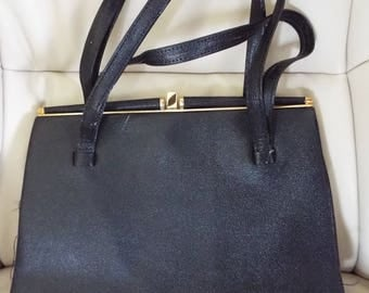 VINTAGE 1940's Black Leather Large Black Bag with  gold tone catch With two double handles a great look By PF