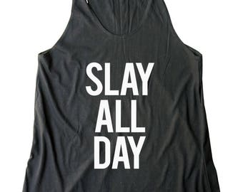 Slay All Day Shirt Teenage Gift Women Graphic Shirt Funny Women Tank Top Workout Shirt Fitness Gift Ladies Lady Gifts For Mom Gifts For Her