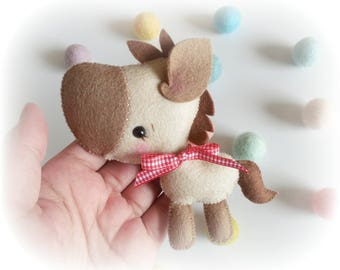 Tony the Pony-PDF Sewing Pattern-DIY-Felt horse Toy Pattern-Baby donkey-Nursery Decor-Horse Ornament-Baby's mobile toy-Farm animals