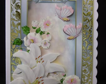 Lilies & Butterflies Card, Deepest Sympathy Card, With Sympathy Card, Thinking of You card, 3d Decoupage Card, Handmade in UK