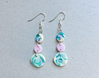 Three-tier marbled clay circles dangle earrings