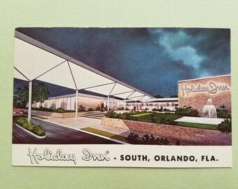 Vintage postcard - Stunning Midcentury architecture of Orlando, Florida Holiday Inn south location 1960s vintage, unused