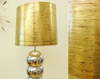 Vintage Lamp Shade, Mid Century Paper, Metallic Gold Paint Spatter Design, Large
