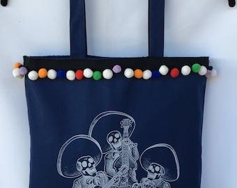 Sugar Skulls Mariachi Band Tote Bag. Mariachi Musician Band Tote Hand Bag. Canvas Shoulder Bag. Gift Friendly .