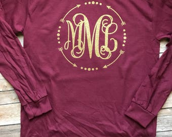 Arrow and Dot Border Monogrammed Shirt - Short Sleeve or Long Sleeve for YOUTH or ADULT