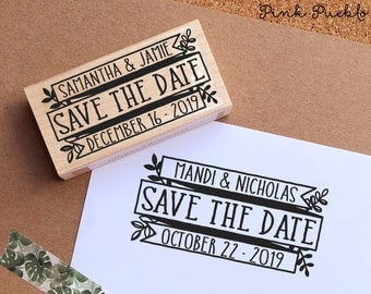 Save the Date Stamp, Rustic Wedding Stamp, Vintage Botanical Save the Date Stamp