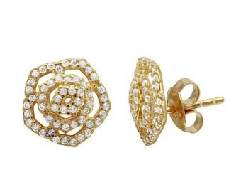 ON SALE Diamond flower stud earrings, flower earrings, sterling silver flower