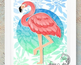 Pink Flamingo Poster Print Picture Geek Nerd Gamer
