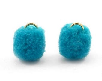 Pompom pendant, pom Poms, Pom Pons-5 PCs.-Ø 15 mm-Color selectable (color: Ocean blue)