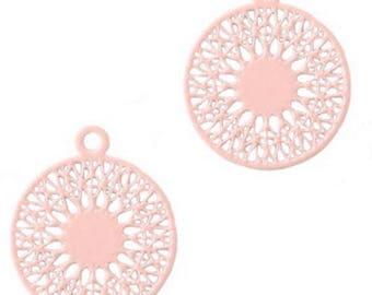 Bohemian Pendant, Boho Syle-3 pcs.-18 x 15 mm-Color selectable (color: light pink)