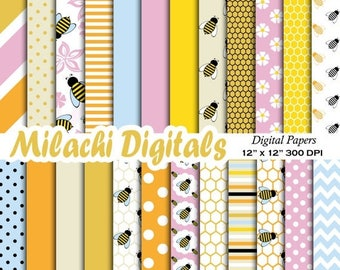 60% OFF SALE Bumble bee digital paper, honey scrapbook papers, hive wallpaper, honeycomb background - M380