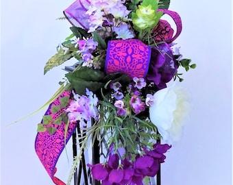 Purple Floral Lantern Swag, Bright Summer Flowers, Unique Lantern Swag, Bright Centerpiece, Floral Arrangement, Home decor, Handmade, New