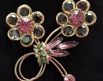 Rhinestone Flower Brooch /Pin