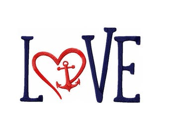 Love with Heart and Anchor Machine Embroidery Digital Download