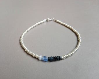 Bracelet Sapphire nuanced and silver / / thin and minimalist