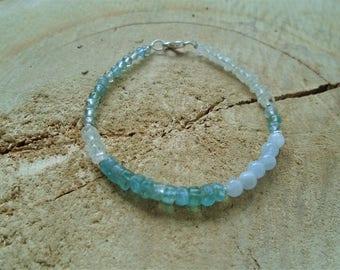 Bracelet aquamarine and Apatite on Sterling Silver 925 minimalist