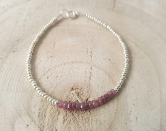 Rubellite bracelet and silver / / thin and minimalist