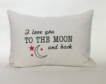 I Love You to the Moon and Back Embroidered Pillow