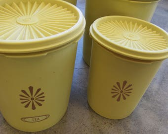 Vintage Set Yellow Plastic Tupperware Container Canisters