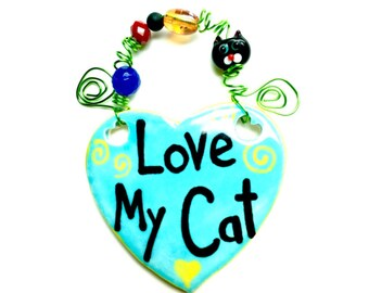 Love My Cat #542 blue ceramic sign/cat sign/cats /cat Rescue/blue/cat paws