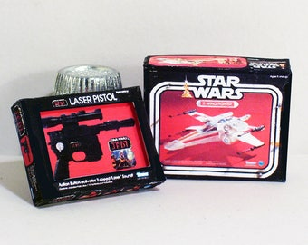 Star Wars X Wing Fighter & Jedi Laser Pistol Boxes - Dollhouse Miniature 1:12 Scale  -  Dollhouse accessory  1970s 1980s Dollhouse toy boxes