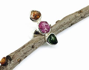 Tourmaline multicolor gemstone ring set in sterling silver (92.5). Natural authentic stones. Size -5.