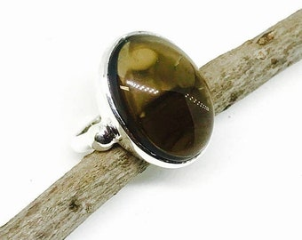 10% Smokey Topaz ring set in sterling silver 92.5. size 8. Natural authentic stone.